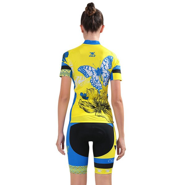Female Yellow Breathable Jersey with Zipper Blue Butterfly Sponged Cycling Suit
