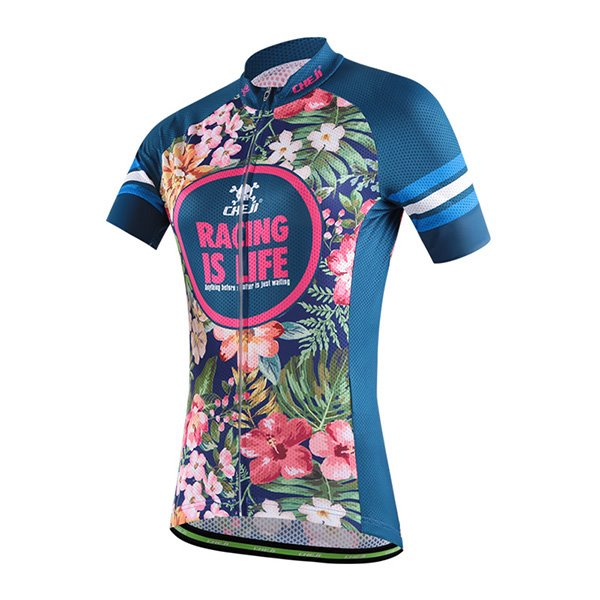 Female Tropical Vintage Flowers Breathable Bike Jersey with Zipper Sponged Cycling Suit