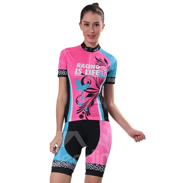 Female Butterfly Pink and Blue Bike Jersey with Zipper Sponged Cycling Suit