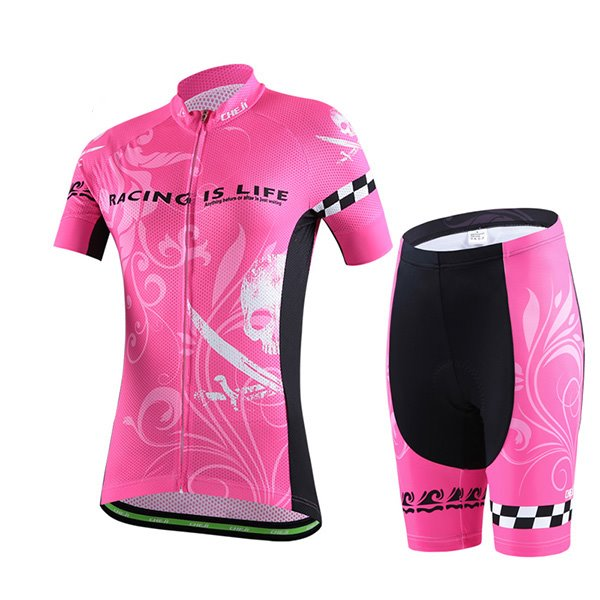 Female Pink Pirate Race Bike Jersey with Zipper Sponged Short Cycling Suit