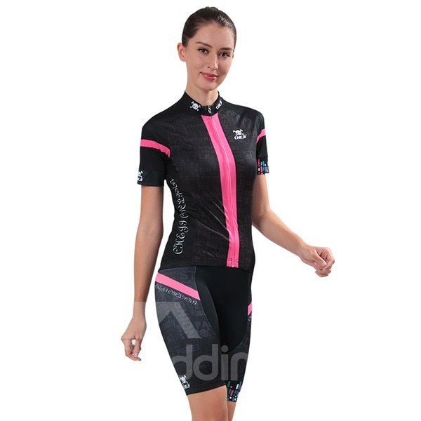 Female Black Skull Pink Strip Breathable Bike Jersey with Zipper Sponged Cycling Suit