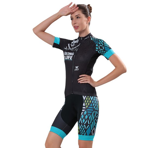 Female Black Skull Breathable Bike Jersey with Zipper Sponged Short Cycling Suit