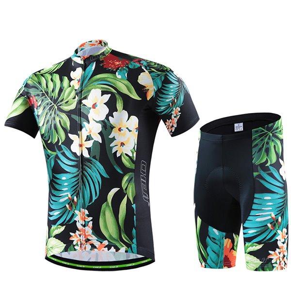 Male Tropical Vintage Flowers Breathable Bike Jersey with Zipper Sponged Short Cycling Suit