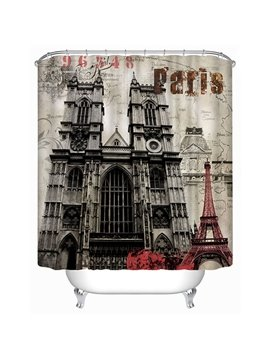 Classic London Westminster Abbey Print 4D Bathroom Shower Curtain