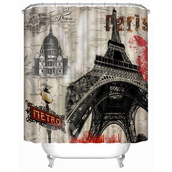 Classic Paris Eiffel Tower Print 3D Bathroom Shower Curtain