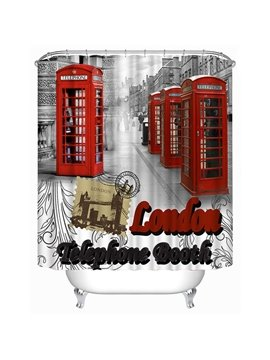 London Red Telephone Box Print 3D Bathroom Shower Curtain