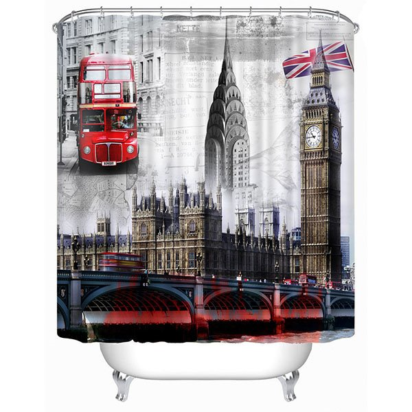 Typical London Landmark Print 3D Bathroom Shower Curtain
