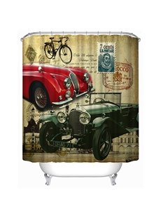 Chic Antique Cars Print 3D Bathroom Shower Curtain