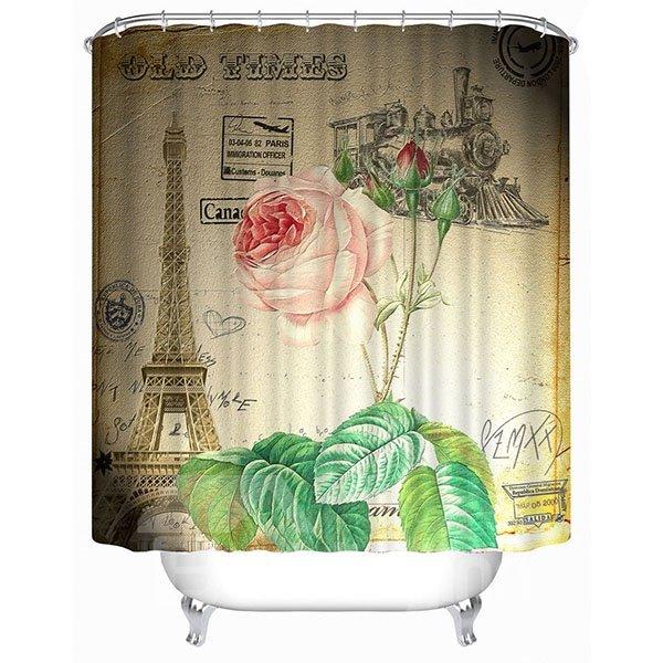 Paris Champagne Rose Print 3D Bathroom Shower Curtain