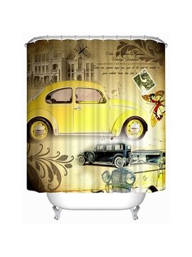 Classic Fashioned Yellow Car Print 3D Bathroom Shower Curtain