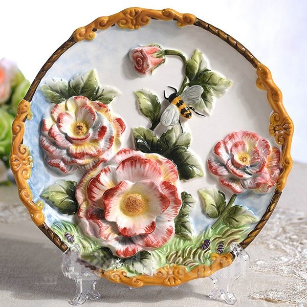 Creative Ceramic Roses Pattern Plate Desktop Decoration Painted Pottery 12188016