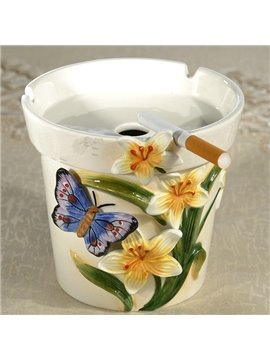 Fashion Ceramic Lily and Butterfly Pattern Ashtray Painted Pottery