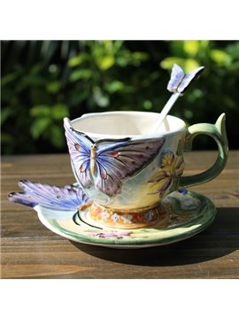 Colorful Ceramic Butterfly Coffee Mug Painted Pottery