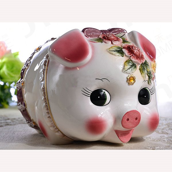 Cute Ceramic Pig Piggy Bank Painted Pottery