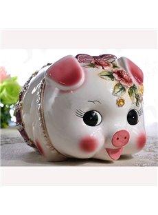 Cute Ceramic Pig Piggy Bank Painted Pottery
