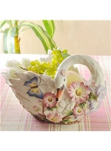 White Ceramic Flower Pattern Swan Fruit Compote Painted Pottery
