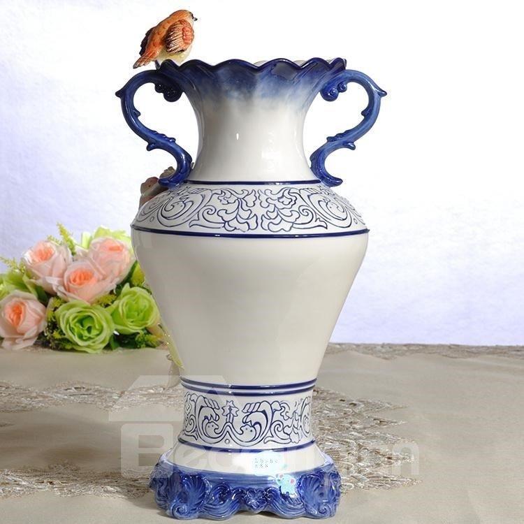 Blue Ceramic Decorative Birds Flower Vase Painted Pottery