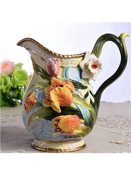 Handmade Ceramic Tulip Pattern Flower Vase Painted Pottery