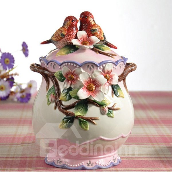Red Birds Ceramic Flower Pattern Cookie Jar Painted Pottery