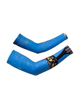 Male Blue Sleeve with Black Cartoon Cat Cycling UV Protection Cooling Arm Sleeve