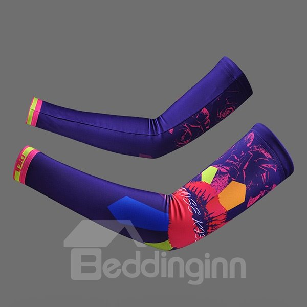 Female Kiss Purple Cycling Sleeve with Colorful Blocks Golf UV Protection Arm Sleeve