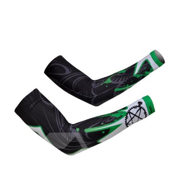 Male Abstract Wheel Gear Absorbent Cycling UV Protection Cooling Arm Sleeve