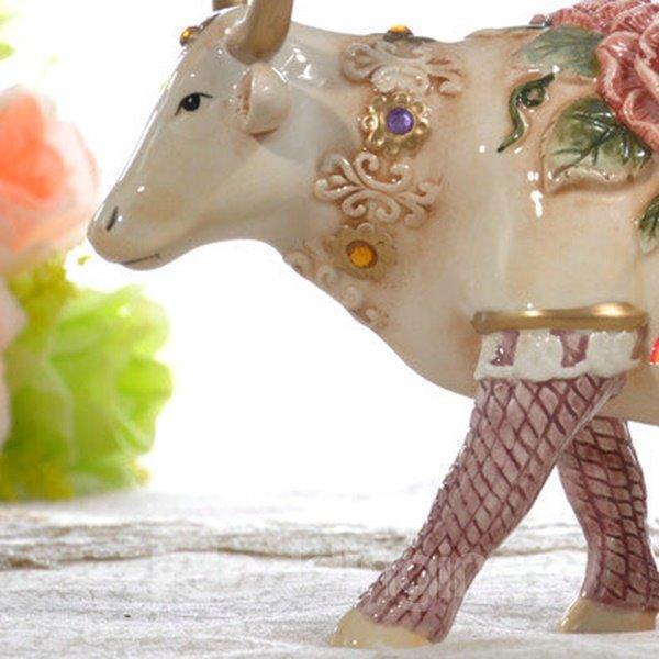 Pretty Ceramic Flower Cow Shape Desktop Decoration Painted Pottery