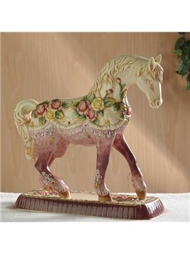 Purple Ceramic Flower Horse Decorative Desktop Painted Pottery