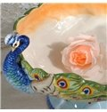 Gorgeous Ceramic Two Peacock Heads Fruit Plate Painted Pottery