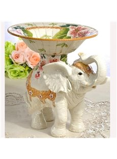 Modern Design Flower Pattern Elephant Fruit Plate Painted Pottery