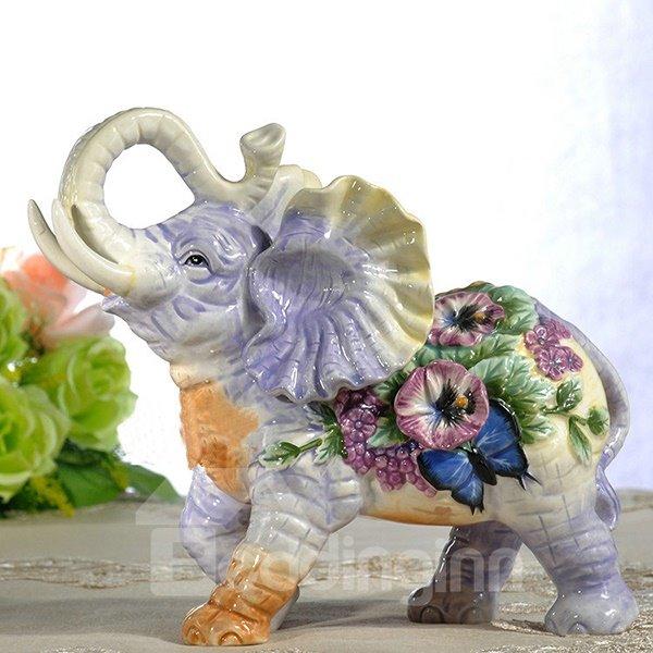 Cute Flower Elephant Pattern Decorative Desktop Painted Pottery