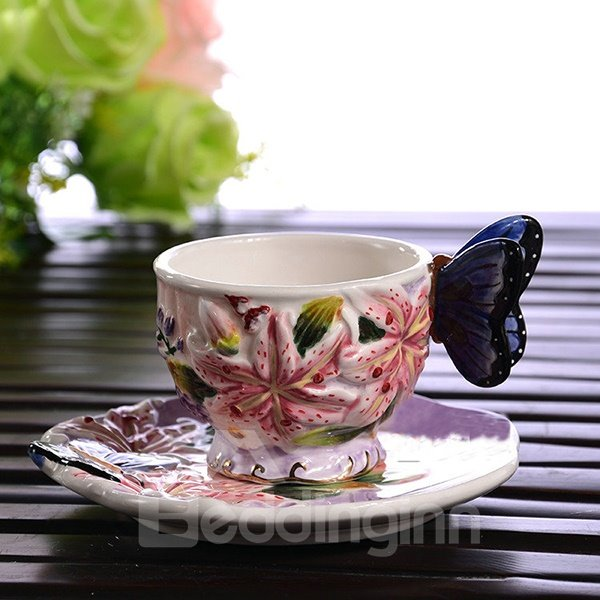 Excellent Style Ceramic Lily Pattern Coffee Cup and Plate Painted Pottery 12188547