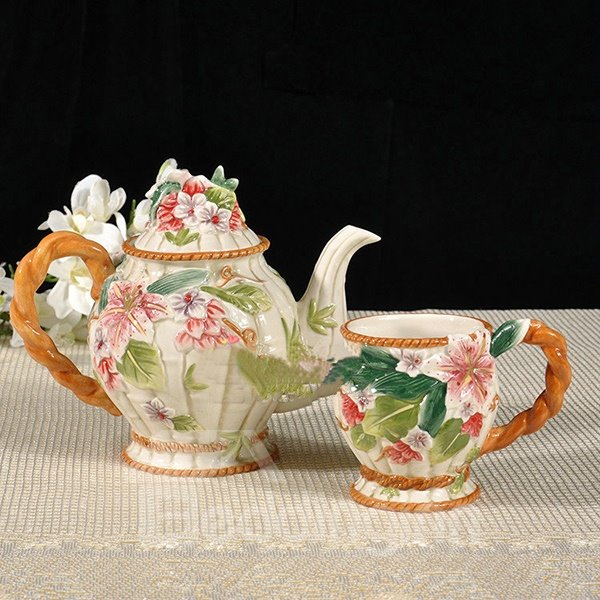 Ceramic Lily Pattern Teapot and Cup Painted Pottery 12188560