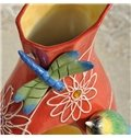 Red Ceramic Bird and Dragonfly Flower Vase Painted Pottery