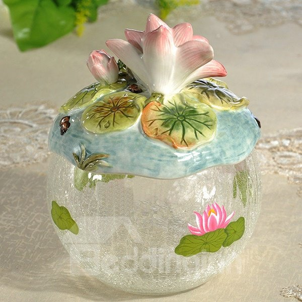 Transparent Ceramic Lotus and Frog Storage Canister Painted Pottery