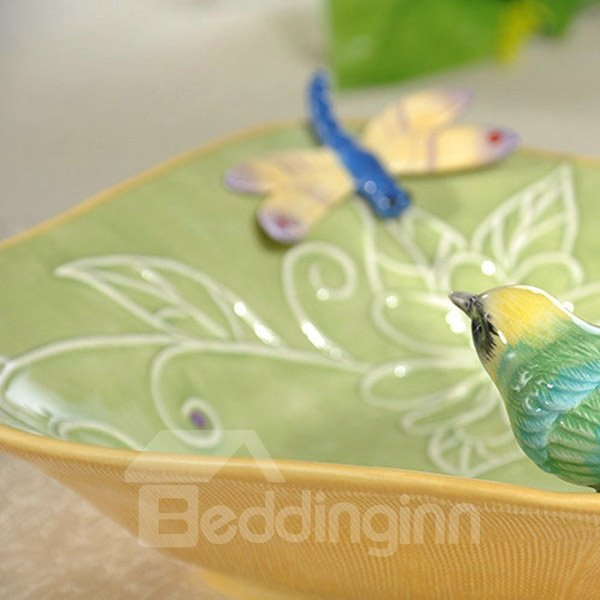 Unique Green Bird and Butterfly Fruit Plate Painted Pottery