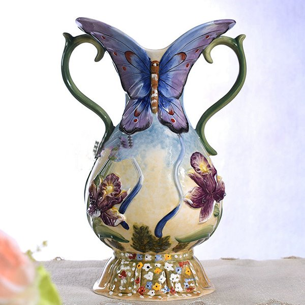 Gorgeous Ceramic Butterfly Flower Vase Painted Pottery