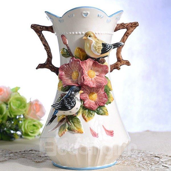 Romantic Love Birds Pattern Ceramic Flower Vase Painted Pottery
