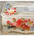 Amazing White Ceramic Flowers and Birds Tissue Box Painted Pottery