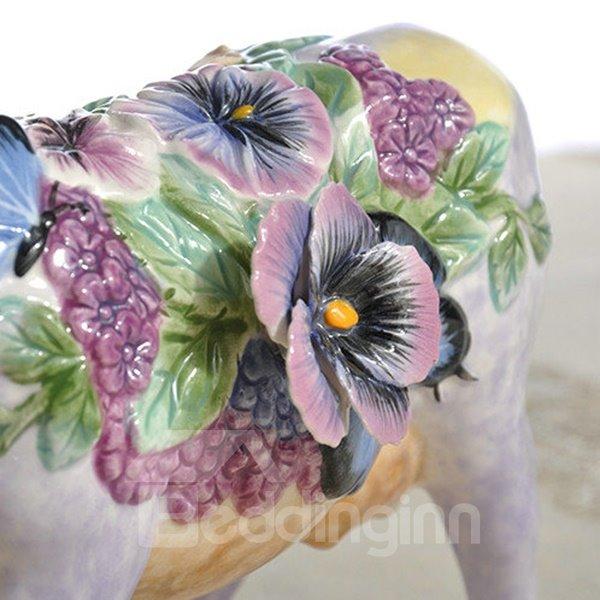 Bright Purple Ceramic Bull Desktop Decoration Painted Pottery