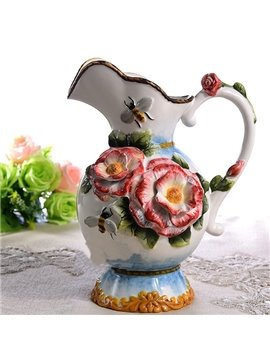 Wonderful Roses and Bees Pattern Ceramic Flower Vase Painted Pottery