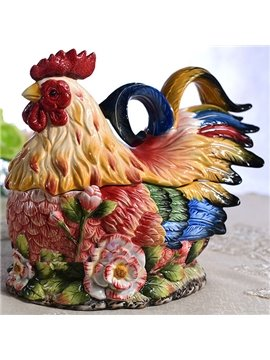 Colorful European Style Ceramic Rose Cock Cany Jar Painted Pottery