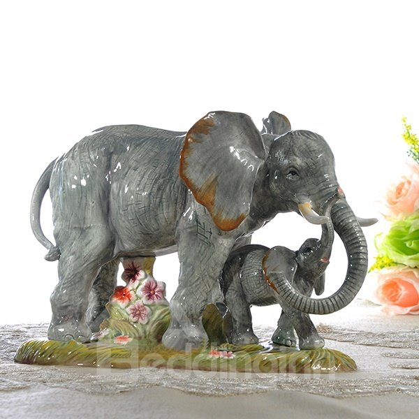 Vivid Two Cute Elephant Desktop Decoration Painted Pottery