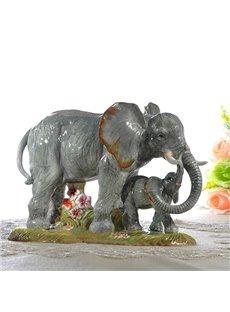 Vivid Two Cute Elephant Desktop Decoration Painted Pottery