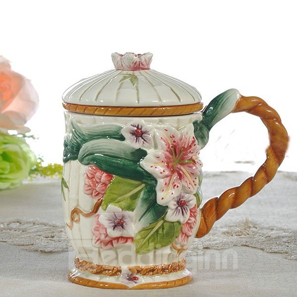 Creative Hand Painted Ceramic Lily Cup Painted Pottery 12188712