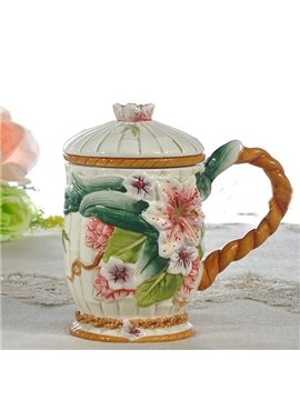 Creative Hand Painted Ceramic Lily Cup Painted Pottery
