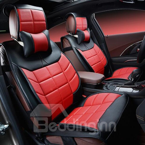 classic red microfiber leather material cozy and economic universal car seat cover. Black Bedroom Furniture Sets. Home Design Ideas