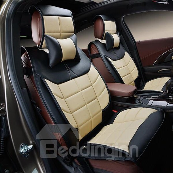 classic 3d stereoscopic design luxurious genuine leather universal car seat cover. Black Bedroom Furniture Sets. Home Design Ideas