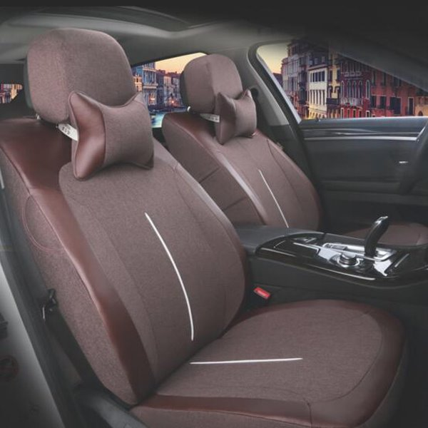 Natural Fibers Flax Material Textured Durable Five Universal Car Seat Cover