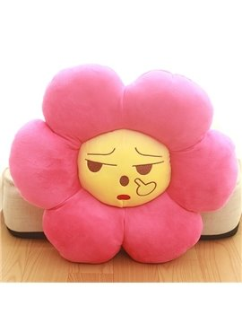 Funny Cozy Carefree Flower Shaped Kids Throw Pillow